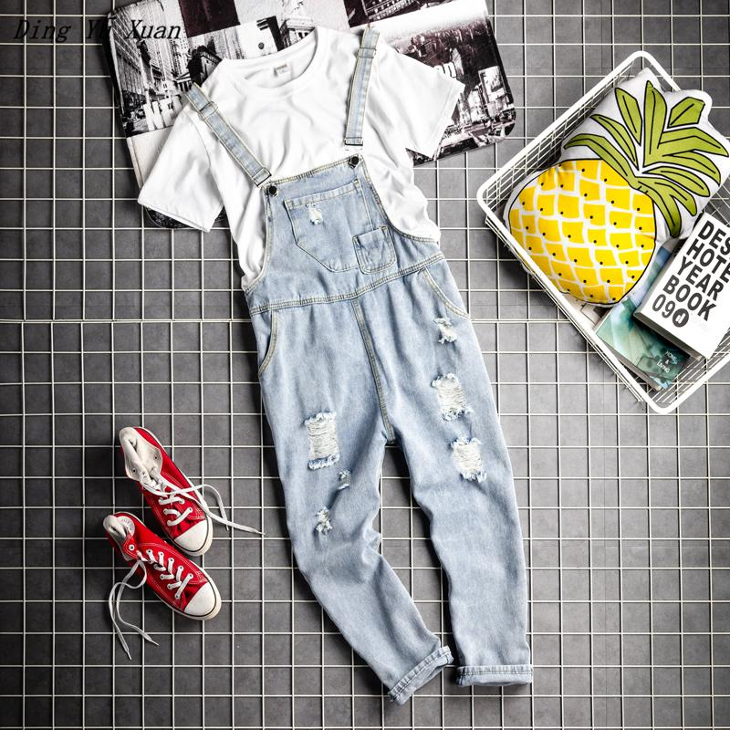 Boyfriend Male Streetwear Loose Denim Bib Overalls Couple Suspender Jumpsuit Jeans Men Women Hip Hop Ripped Cargo Denim Pants