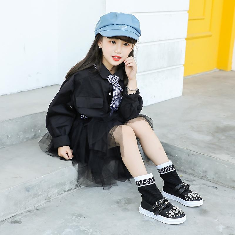 HJCyj Girls socks boots mid-length 2019 tong Xue Tong Xue autumn and winter new children's shoes Korean style children's boots casual fashio