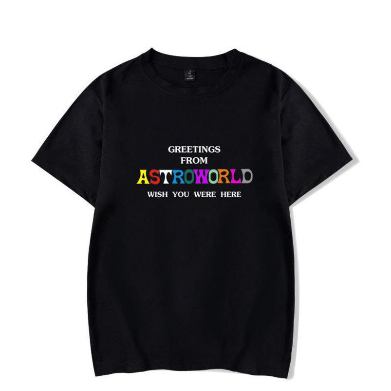 Para hombre de la camiseta del verano Travis Scotts AstroWorld Negro Blanco Azul Crew Neck AW Tshirt Cartas de impresión Hip pop Rapero