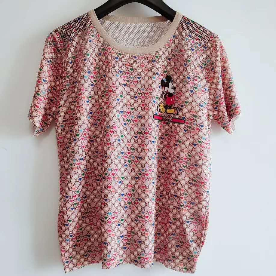 523 2020 Estate Donne Donne Abbigliamento maglione regolare manica corta girocollo Lettera con pannelli di marca