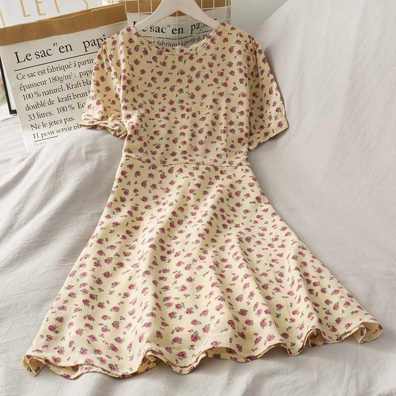 ZCWXM Tatlı Geri Bow Kadınlar Elbise Yüksek Bel Çiçek şifon elbiseler Koreli Kısa Kollu A-line vestidos Şık 2020 Moda
