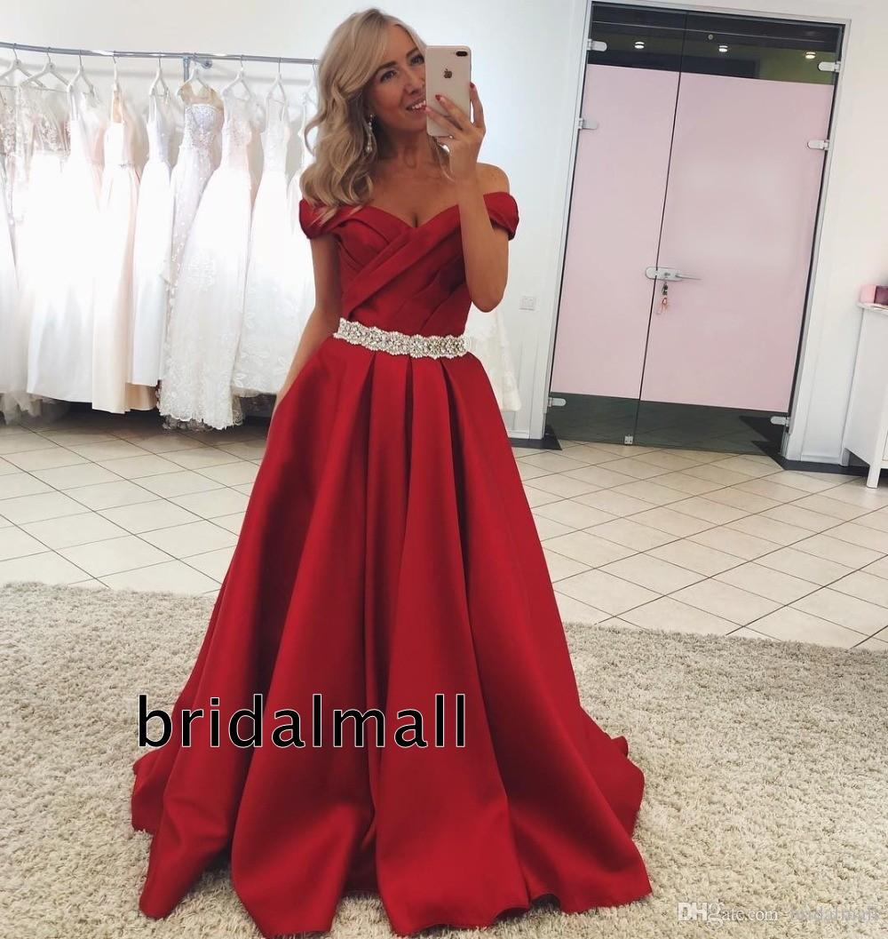 2020 Prom Trends.Pleats Satin Dark Red Long Prom Dresses 2020 Off The Shoulder Elegant Formal Evening Gowns Crystals Sash Party Dress Cheap Vestido De Fiesta Neon Prom