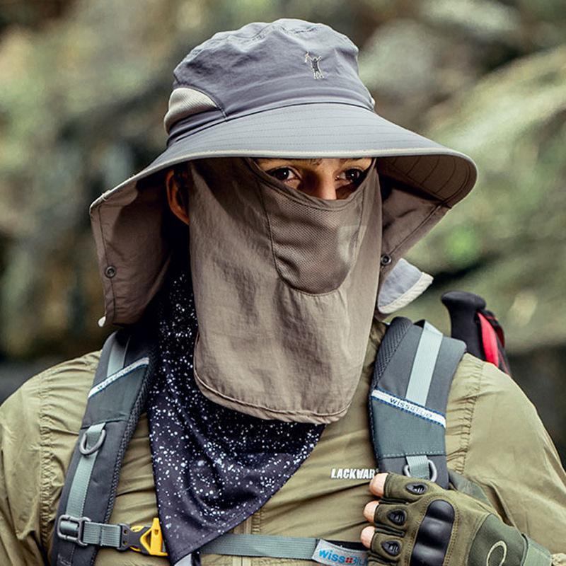 Neue Art und Weise im Freien Sonnenhut Wandern Sonnenschutz Gesicht Mountaineering Hut Männer Hutsun Schutzkappen für Damen