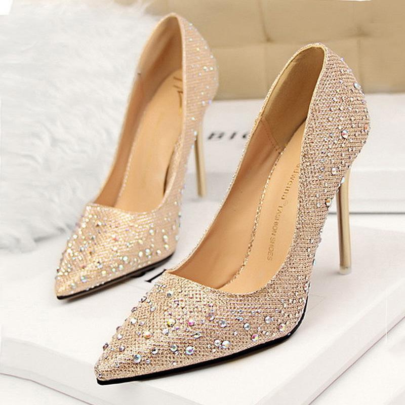 Strass Femmes Pompes Classique Stiletto Femmes Talons Hauts Sexy Bout Pointu Talon Pompes 10 cm Dames Partie De Chaussure De Mariage Chaussures
