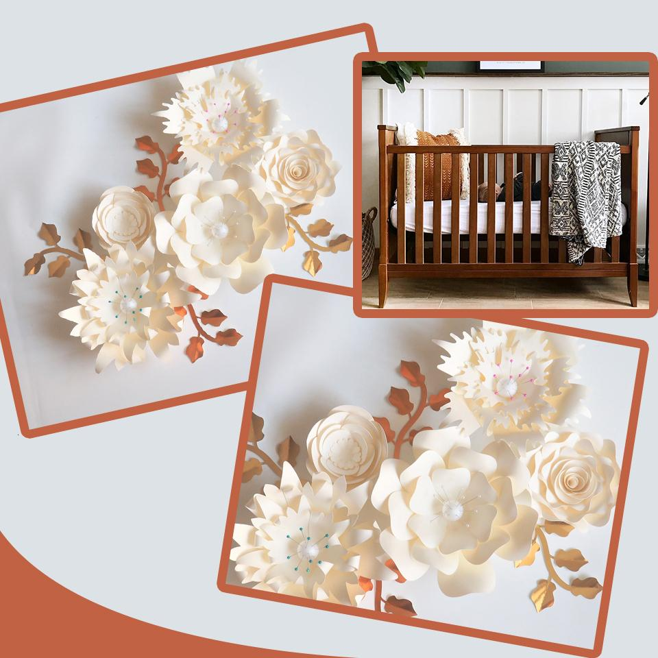 Handmade Ivory Rose DIY Paper Flowers Leaves Set For Baby Girl Nursery Wall Art Kids Room Decoration Baby Room Decor Wall Floral T191102
