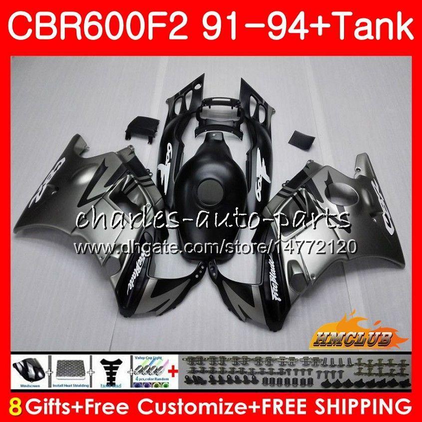 Body + Tank für HONDA CBR 600F2 CBR600FS CBR 600 FS F2 91 92 93 94 40HC.11 600cc CBR600 F2 CBR600F2 1991 1992 1993 1994 Flach silbrig Verkleidungs