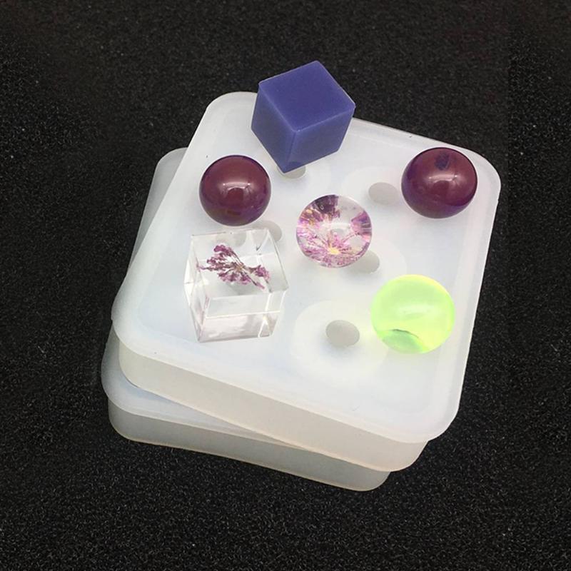 Forma bola Colar Durable Jóias Ferramenta Resina Artesanato Fazendo Rodada Sphere brincos DIY Silicone molde de fundição Pendant
