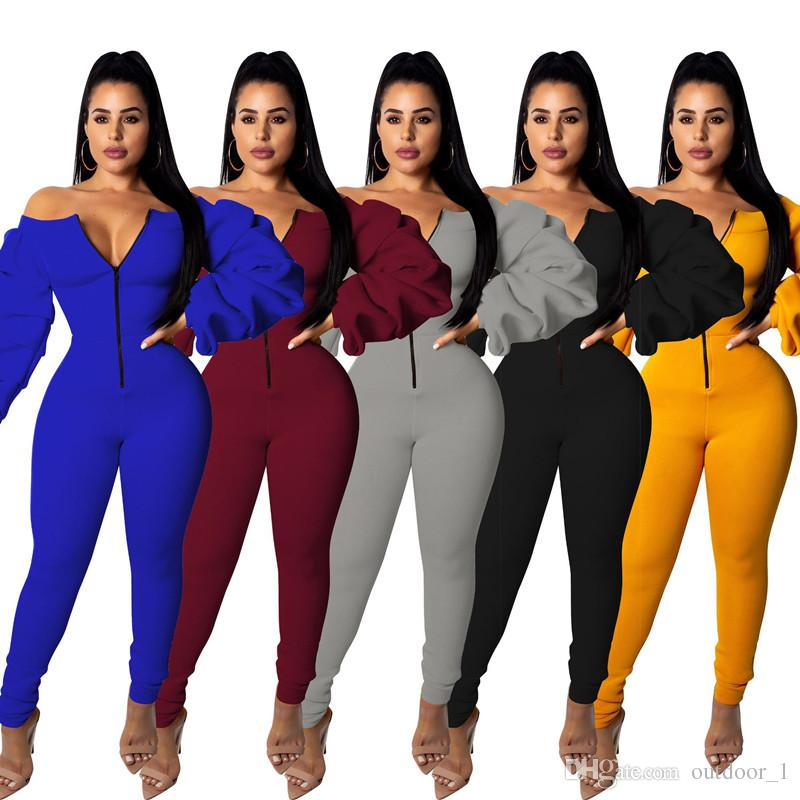 Women Jumpsuit Leggings Bodycon Pants Long Sleeve Zipper Off Shoulder Sexy Tights Fall Casual Designer Clothing Hot Selling 1052
