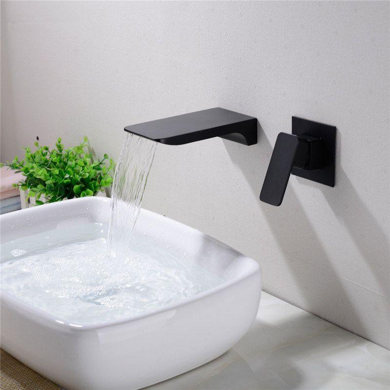Montage mural en laiton cascade BASSIN ROBINET, noir ou chrome robinet évier, salle de bains Concealed eau chaude et froide mitigeurs 12-078