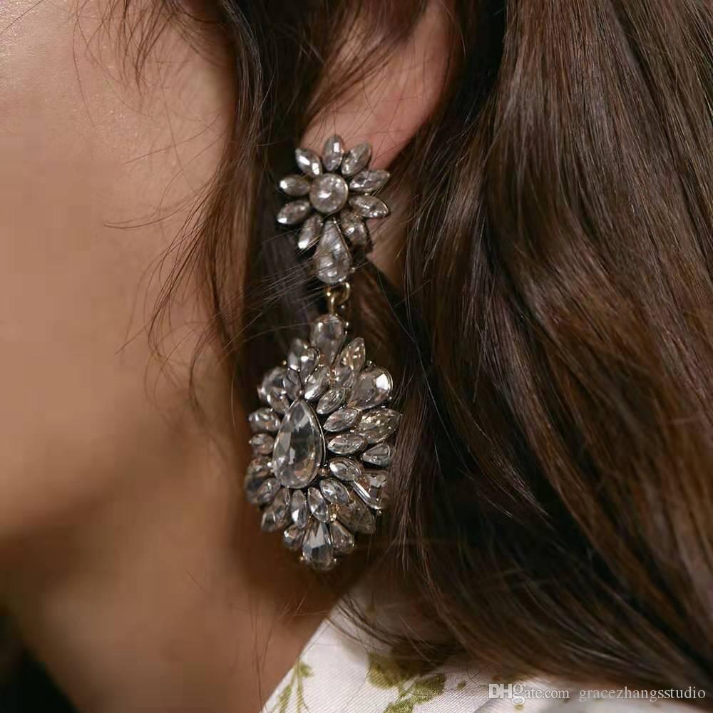 Замороженный вне болтаться серьги для женщин роскошь дизайнер Bling алмазов цветок оборванных серьги моды алмазов помолвки свадьбы подарок ювелирных изделий