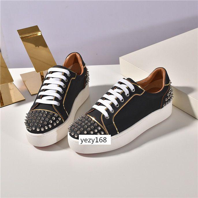 Ultimo NUOVO Donna Uomo Casual shoes.Red Sole Appartamenti con Krystal Spikes Nero Bianco Donna Flats Sneakers6