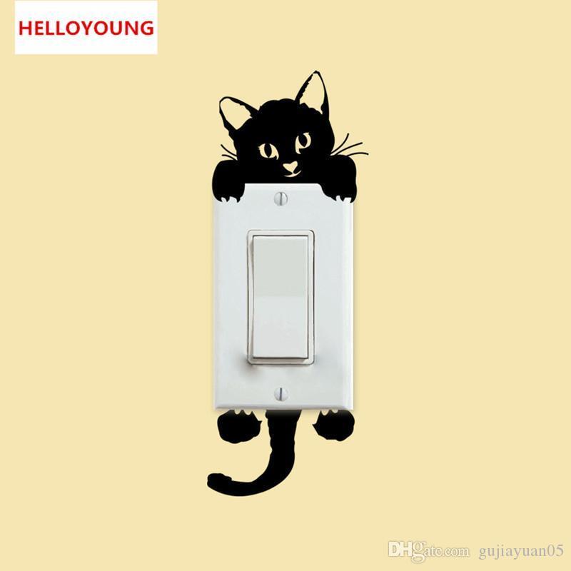 DIY 재미 귀여운 고양이 스위치 스티커 홈 장식 침실 응접실 어린이 방 비닐 벽 스티커 방수