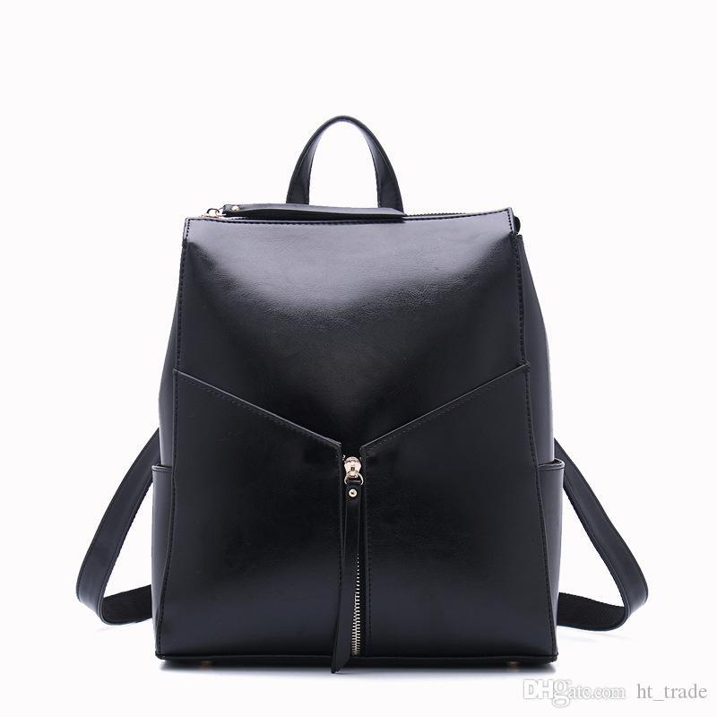 Bayanlar gündelik deri çanta Wax yağı cilt sığır derisi sırt çantası Moda omuz paketleri 3 renk arasında eğimli