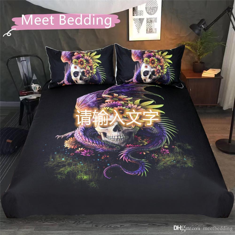 Crânio estilo ocidental Tamanho Bedding Set gêmeo Rainha completa para meninos cama de adulto Cover Set Dragão e tigre de cama fornecimentos