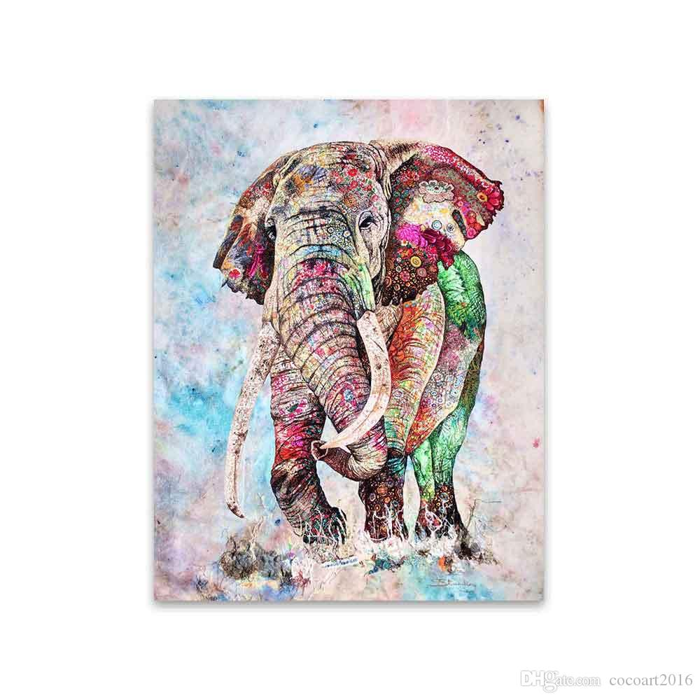 - 2020 Wall Art Canvas Painting Animal Picture Colorful Elephant