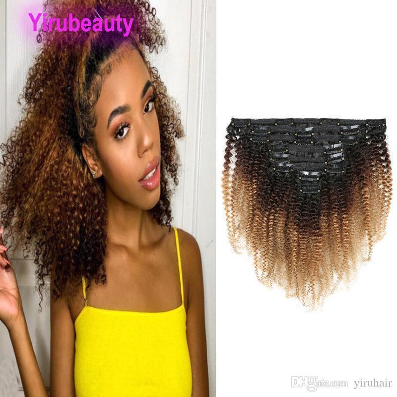 Malaisienne clip Cheveux bouclés Dans Afro Kinky clipser Extensions cheveux 1B 4 27 Ombre Couleur Vierge Trois cheveux Tones 12-20inch