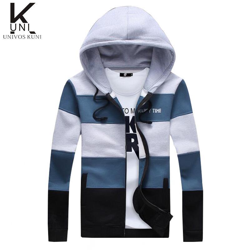 Herren Hoodies Sweatshirts Männer Casual Sportswear Mann Reißverschluss Langarm Sweatshirt Patchwork Slim Fit Hommes F1408