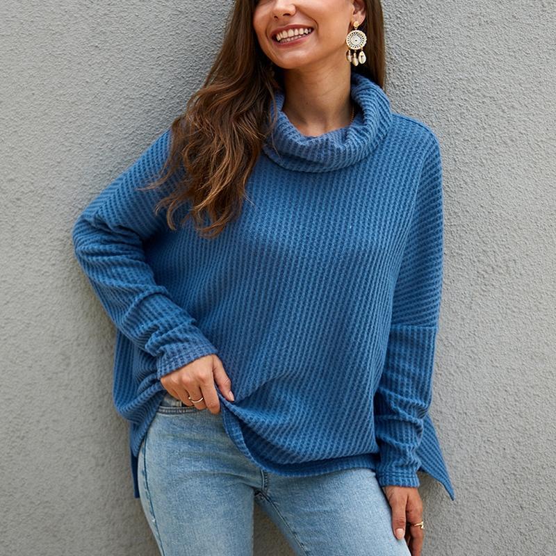 Autumn and winter women's turtleneck sweater large size 4XL-8XL fashion sweater valgus folding collar bust 133CM