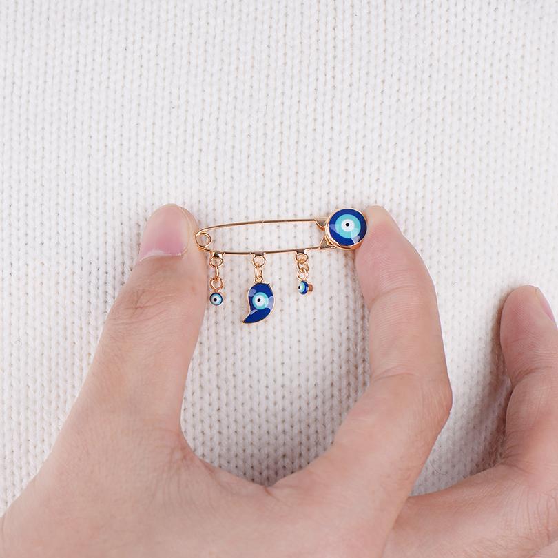 Accesorios de joyería Estilo étnico Blue Equal Eye Ojo Brooche Pin para Mujeres Hombres Moda Color Oro Color Elefante Pájaro Animal