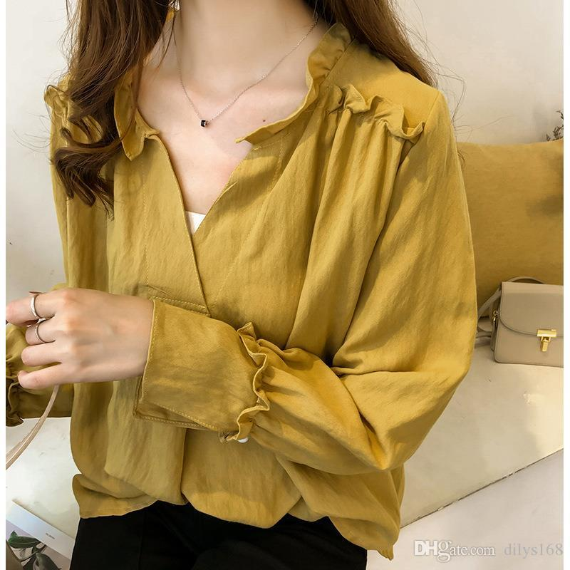 fashion luxury designer womens clothing Blouses long sleeve shirts Women tops Sweet Lotus leaf edge V collar new Student Pure color shirt