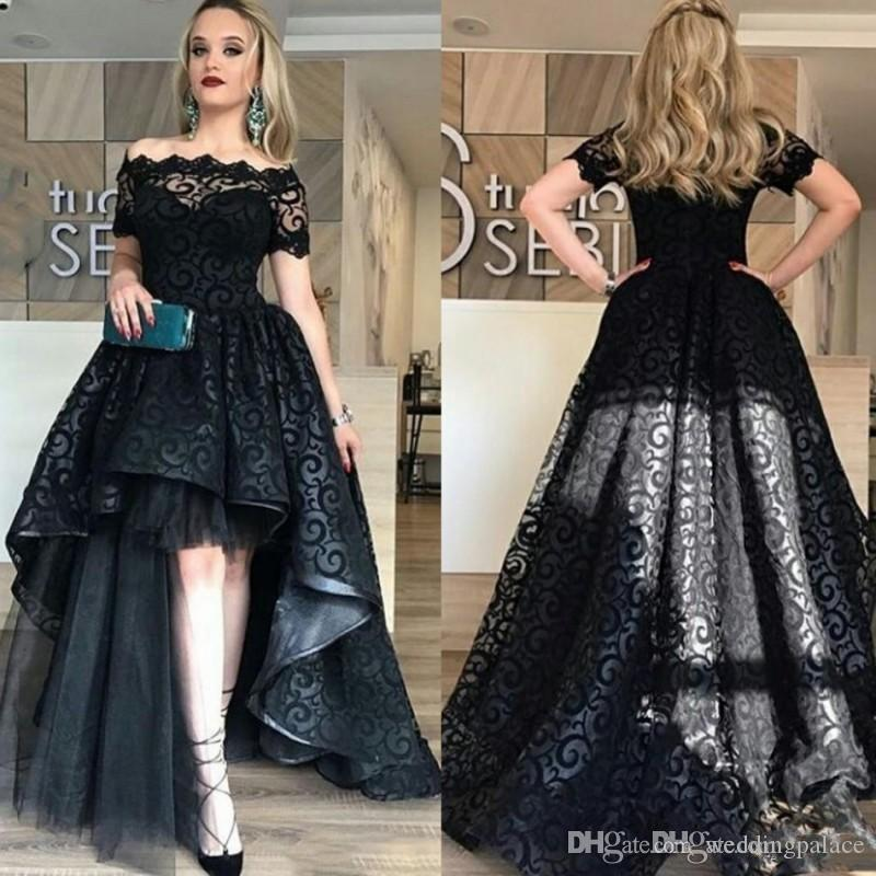 Encaje de alta elegante completo Negro Baja vestido de fiesta 2020 Hombro Corto partido de la moda de alta calidad de las mangas del vestido de los vestidos de noche por encargo