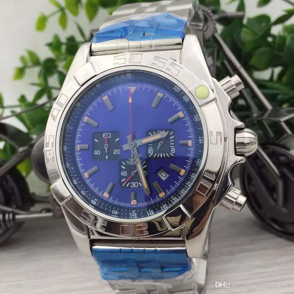 Nave libera esterna BR 1884 Galactic 44MM Quadrante Blu Uomo da polso orologio al quarzo cronografo in acciaio inossidabile Orologi braccialetto del Mens