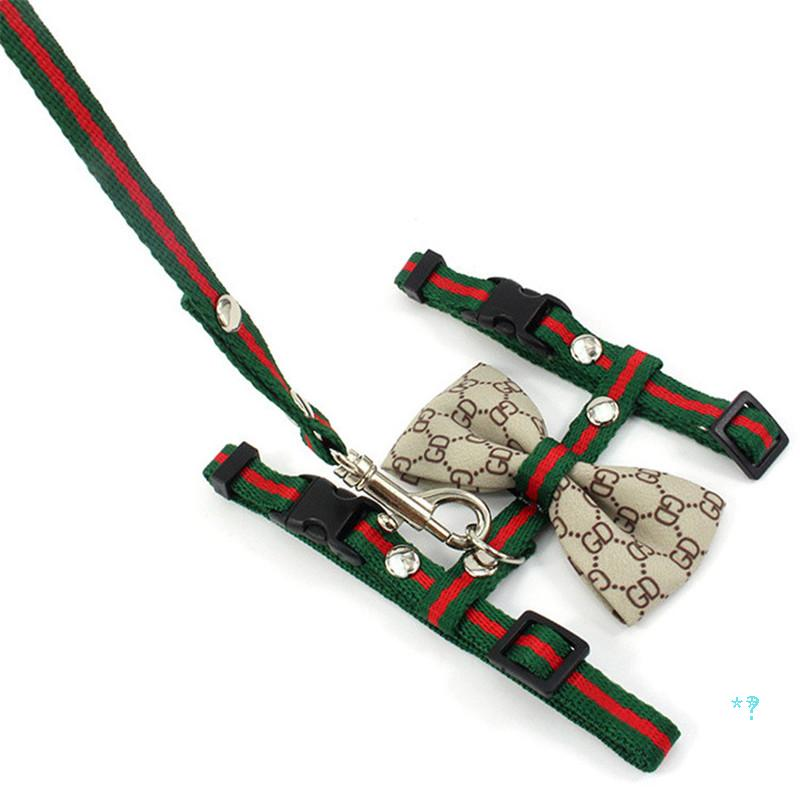 Classic Printed Cat Harnesses Leashes Fashion Bow Knot Pattern Pet Harnesss Outdoor Street Style Cat Leashes Set