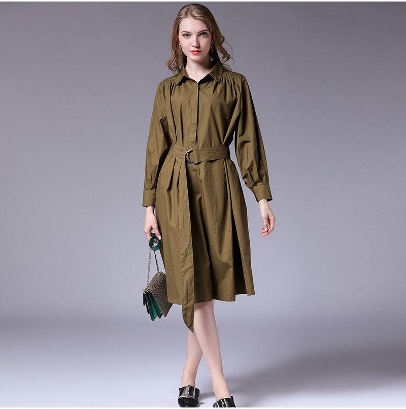 Europa e Stati Uniti 2019 autunno grande da donna nuovo grasso mm200 kg bavero abito rugoso con cintura 7018