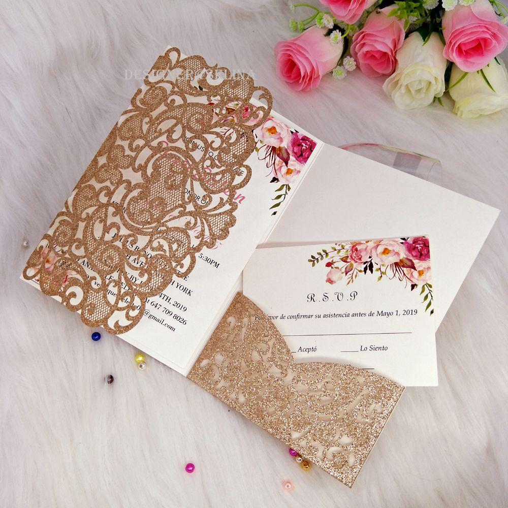 2019 Glittery do Marfim dobrado Wedding bolso Convida 20 + cores personalizado Shimmy convites batismo Com Envelope LIVRE enviados