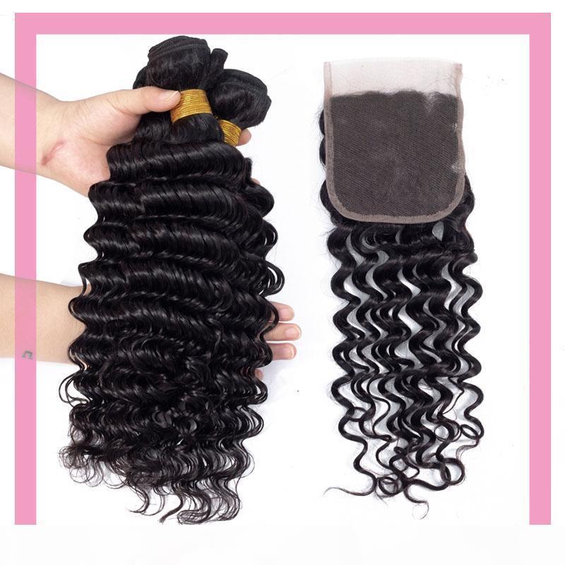 Cabelo peruana Mink Humano 3 pacotes com 4X4 Lace Encerramento onda profunda Curly 4 peças extensões do cabelo lote 8-28inch