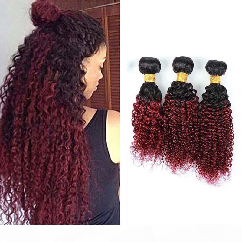 Бразильский Ombre Burgundy Человек 3 волос Связки Цветного 1B 99j Two Tone Kinky завитых волосы девственница Плетение Дешевых Бразильские человеческие волосы