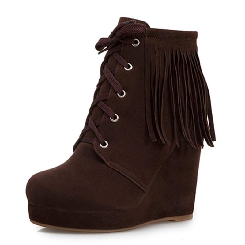 Boots women /Flat Heel/Winter/Flock/Party & Evening/Booties / Ankle Boots/Fashion Boots/Round Toe/Minimalism//Solid Colored