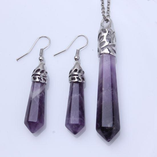 Wholesale 5 pcs Silver Plated Hexagon Prism Amethyst Stone Pendant Link Chain Necklace Drop Earrings Fashion Jewelry Sets