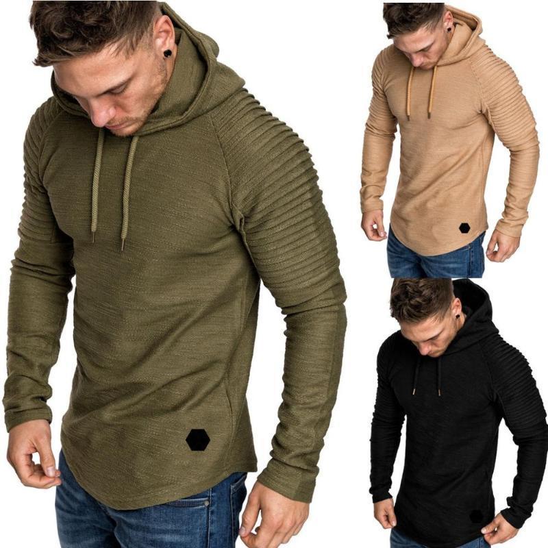 Nuovo Trendy Mens cappuccio Colore solido sottile incappucciato felpa a righe a pieghe maniche raglan Maschio Streetwear cappotto casuale felpa