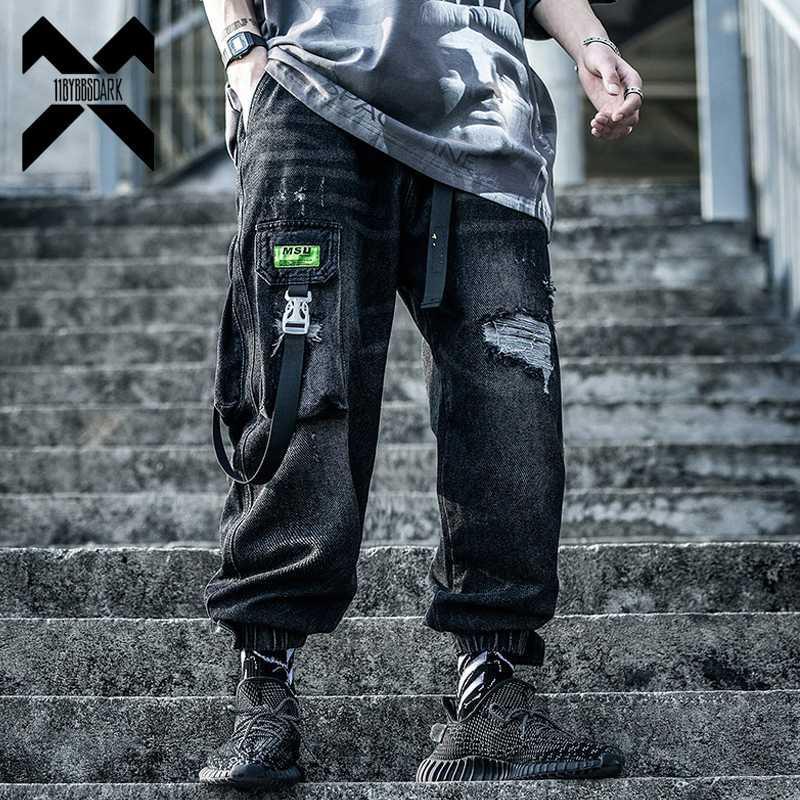 11 BYBB темные хип-хоп грузовые джинсовые брюки мужчины свободные рваные отверстия старинные джинсы эластичный пояс рок Лента брюки уличная одежда WX010