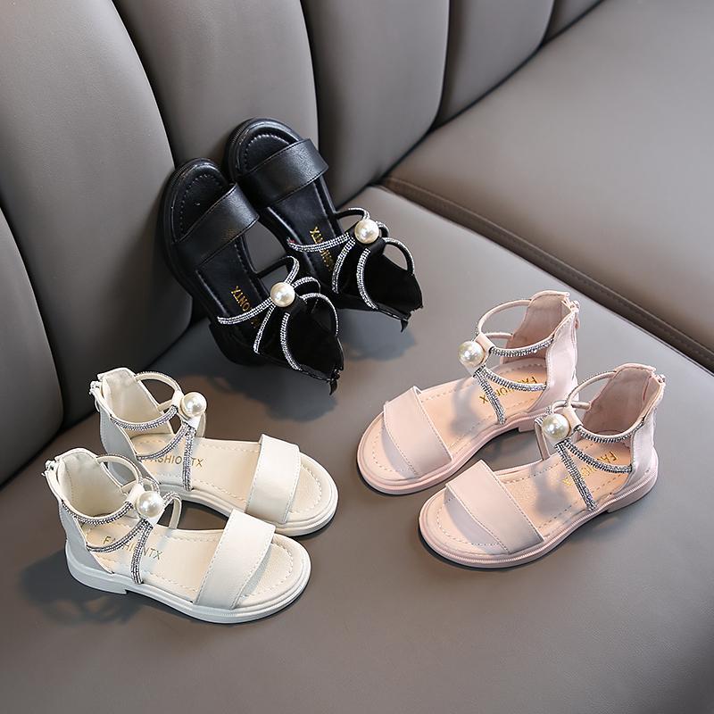 Filles 2020 Perle Sandales New Chaussures d'été pour enfants Roman filles Pu strass en cuir souple princesse Zip caoutchouc sandales de plage Enfants T200427
