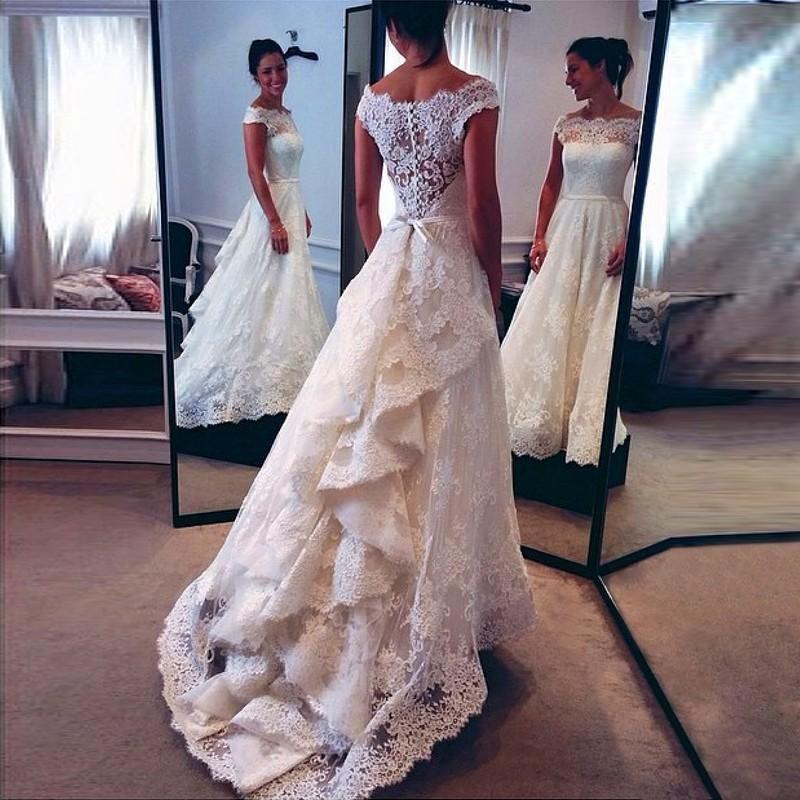 2019 Novo Vintage Lace A-Line Lace Vestidos de casamento Branca Sheer Bateau Neck Vestidos De Noiva Sash Lace apliques vestidos de noiva de trem da varredura