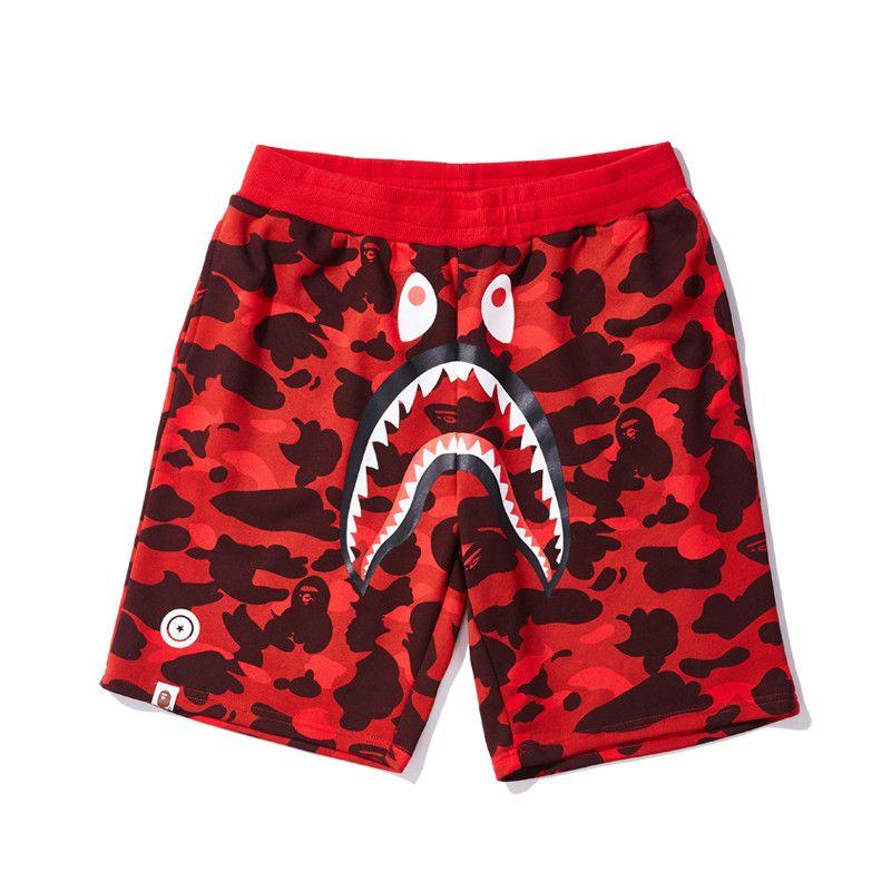 Pantalones de la playa de moda Bape para hombre Pantalones cortos para hombre del estilista de verano para hombre tiburón impresión de algodón de calidad alta a corto