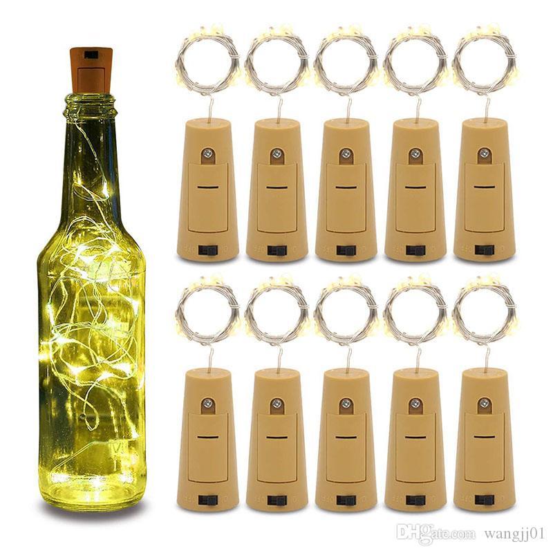 20LED Cordas Wine Lâmpadas rolha de garrafa de luz branca quente branco Cork Vermelho Azul Verde em forma para o partido Decoração do casamento novo