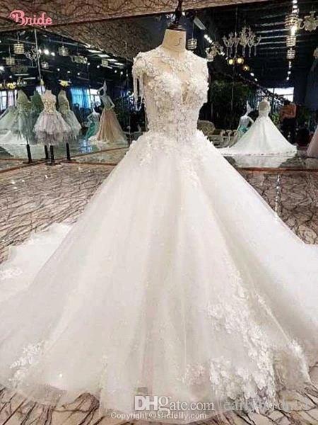 Luxe col montant fleurs 3D A-ligne robes de mariée pas cher Backless Corset Retour robe de bal Taille Plus Robe de mariée BM1611