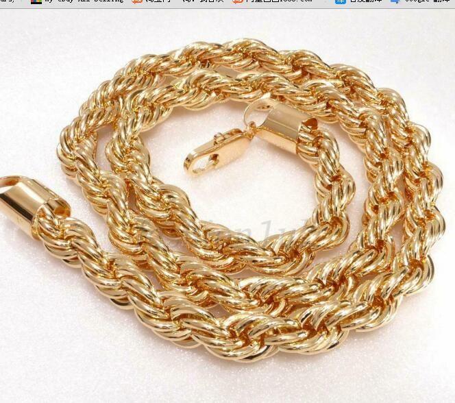 Homens 18K amarelo banhado a ouro Torça Braid 61 centímetros longo pesado Chunky Colar de cadeia