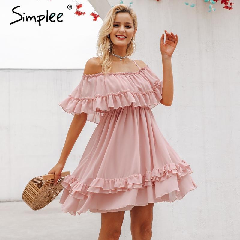 Simple elegante volante fuera de hombro mujer vestido espaguetis correa gasa vestidos de verano casual vacaciones femenino rosa pink sundress