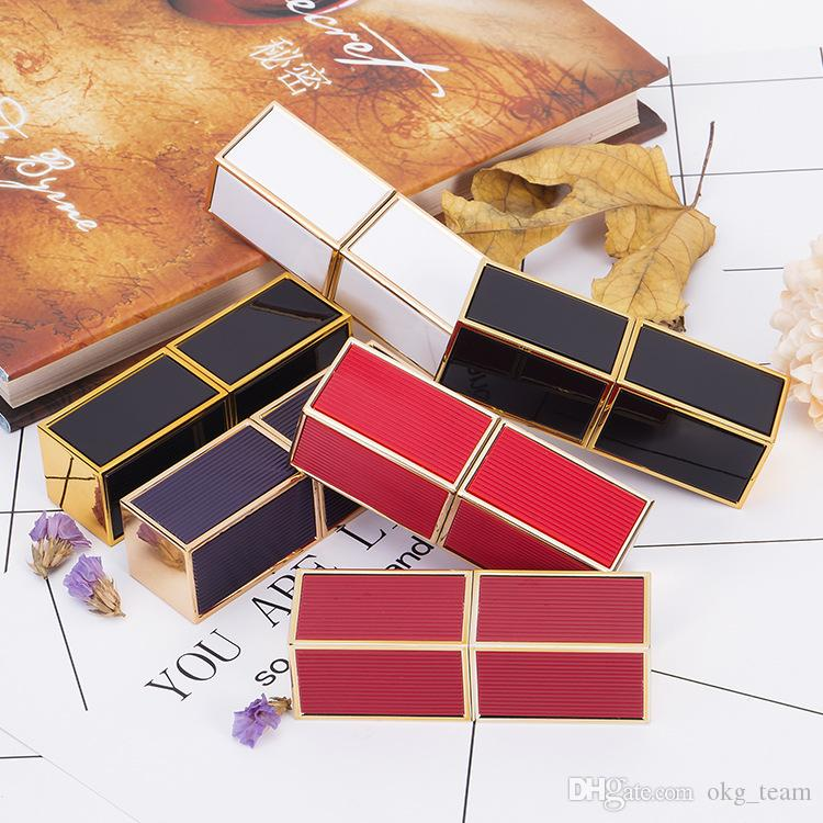 Top 12.1 mm Square Stripe Plastic Beauty Lipstick Tube Maquillaje profesional Bálsamo para los labios Botella de almacenamiento Envase cosmético 10pcs