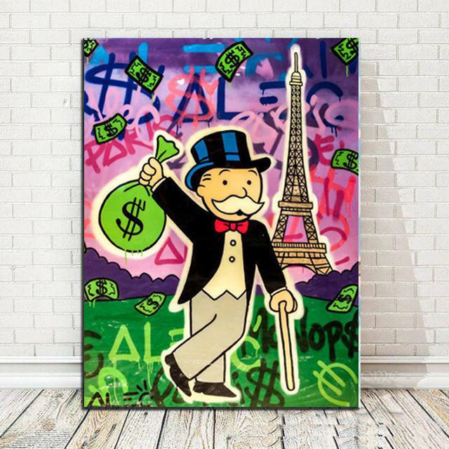 Alec Monopoly Graffiti Holding $ Bag Eiffel Tower Home Decor Handpainted &HD Print Oil Painting On Canvas Wall Art Canvas Pictures 200519