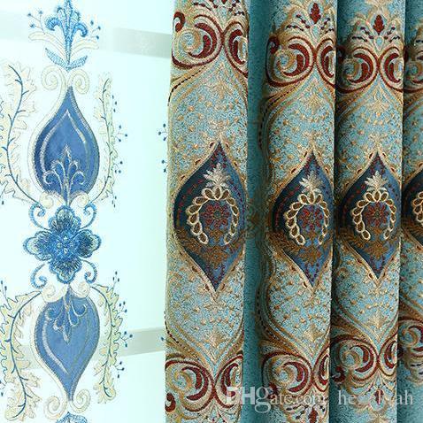 Vorhangstoff Europäische Schatten Stickerei Wohnzimmer Schlafzimmer Vorhänge Customized Vorhang fertig