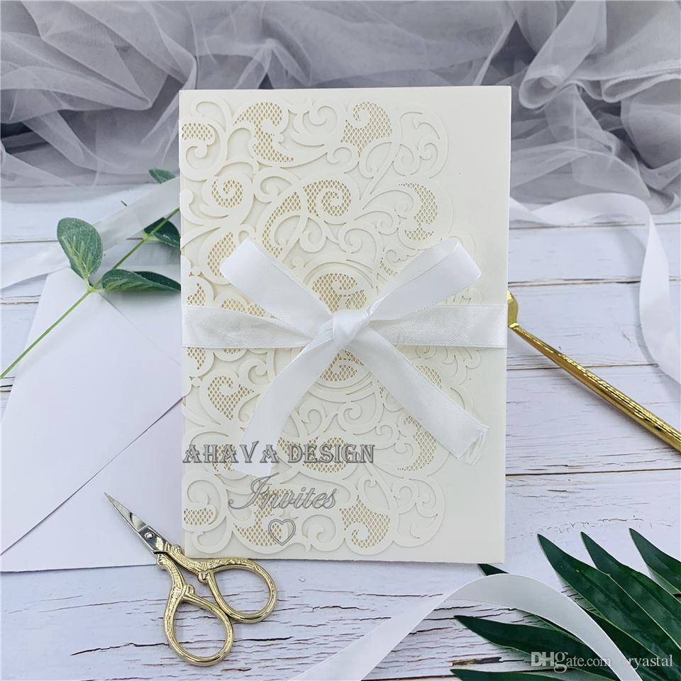 Ivory Customizable Laser Cut Tri-fold Wedding Invitation, Invites With Respond Card And Envelope, Invite for Wedding, Birthday