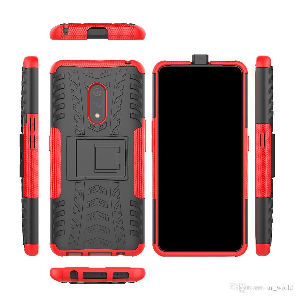 Armure de luxe téléphone Béquille cas Pour Pour OPPO realme5 pro antichocs couverture arrière pour OPPO realme5 silicone pare-chocs de cas