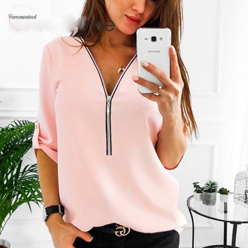 Brevi camice camicette manica delle donne sexy V Neck Solid top e Zipper Tee Shirts Top vestiti più il formato 5Xl