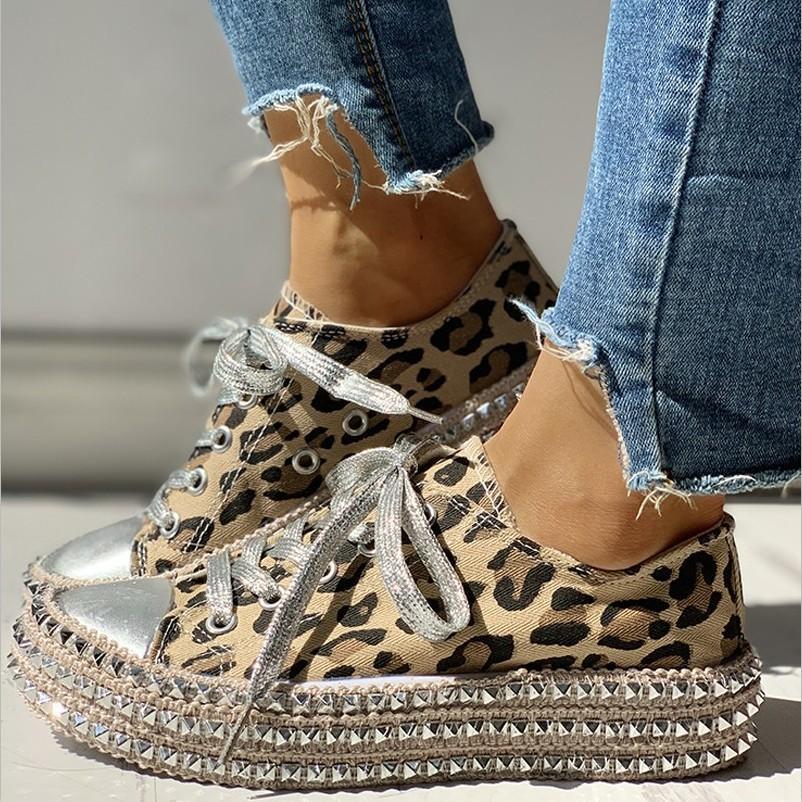 High-топ модные холст обувь женская весной и осень джокер воды дрель печать леопарда настольная обувь случайные женщины мод одиночные ботинки