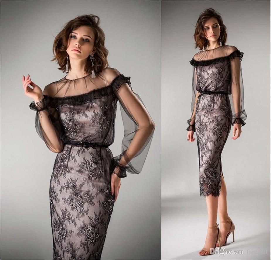 2020 a-line вечерние платья драгоценные иллюзия с длинным рукавом аппликация бисером выпускного платья яблочный платье на заказ формальное платье
